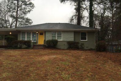 Green Brick Ranch with Yellow Door in Meadowbrook Acres at 3193 Beech Drive Decatur GA