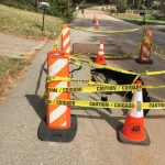 Beech Drive Sinkhole DeKalb County Decatur Cones in Road