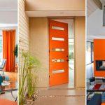 Mid Century Home with Modern Door painted orange