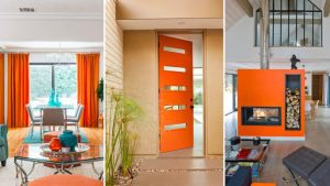 Mid Century Home with Modern Door painted orange