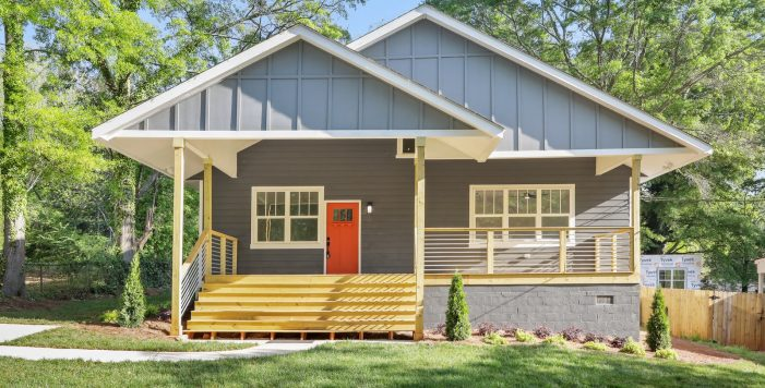 3573 Orchard Circle Decatur Bungalow front porch orange door Peachcrest Belvedere Park Homes For Sale