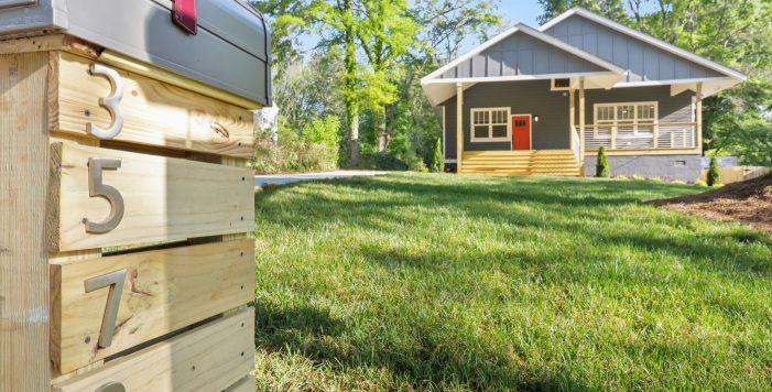 3573 Orchard Circle Decatur front porch orange door mailbox Peachcrest Belvedere Park Homes For Sale New Construction