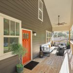 3573 Orchard Circle Decatur front porch orange door Peachcrest Belvedere Park Homes For Sale New Construction